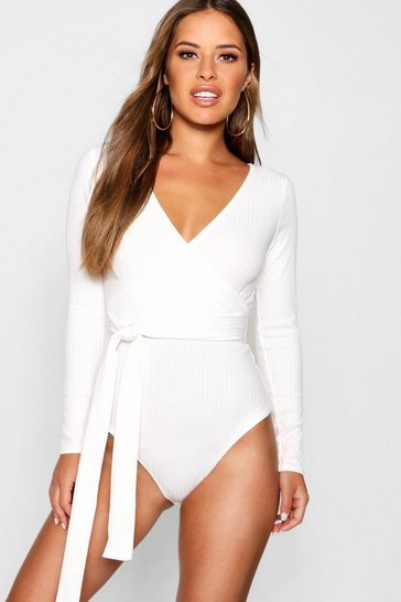 Cream Petite  Knitted Wrap Bodysuit