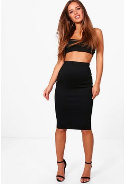 Womens Black Petite Basic Ponte Bodycon Midi Skirt