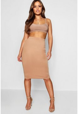 Camel Petite Basic Ponte Bodycon Midi Skirt