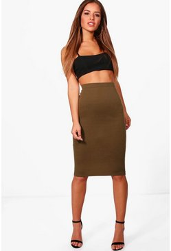 Khaki Petite Basic Ponte Bodycon Midi Skirt