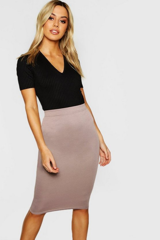 Womens Mocha Petite Basic Ponte Bodycon Midi Skirt