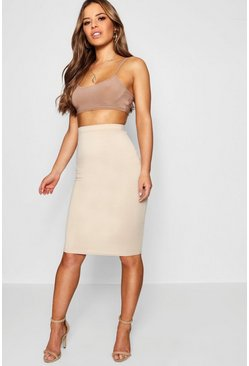 Stone Petite Basic Ponte Bodycon Midi Skirt