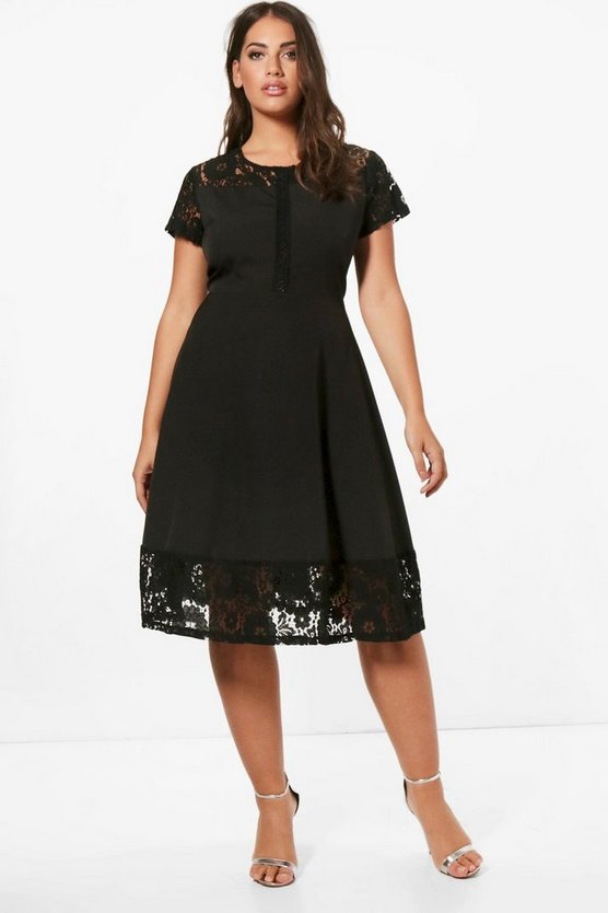 Womens Black Plus Lace Panelled Cap Sleeve Skater Dress