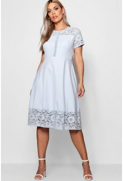 Womens Blue Plus Lace Panelled Cap Sleeve Skater Dress