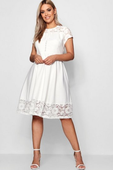 Womens White Plus Lace Panelled Cap Sleeve Skater Dress