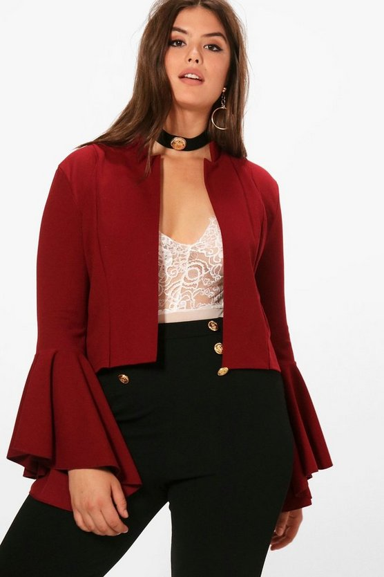 Plus Emily Fluted Sleeve Crop Jacket