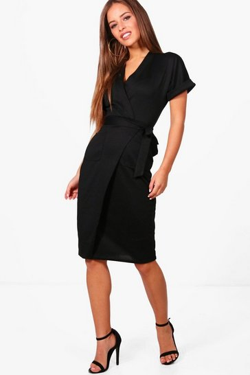 Womens Black Petite  Obie Tie Wrap Midi Dress