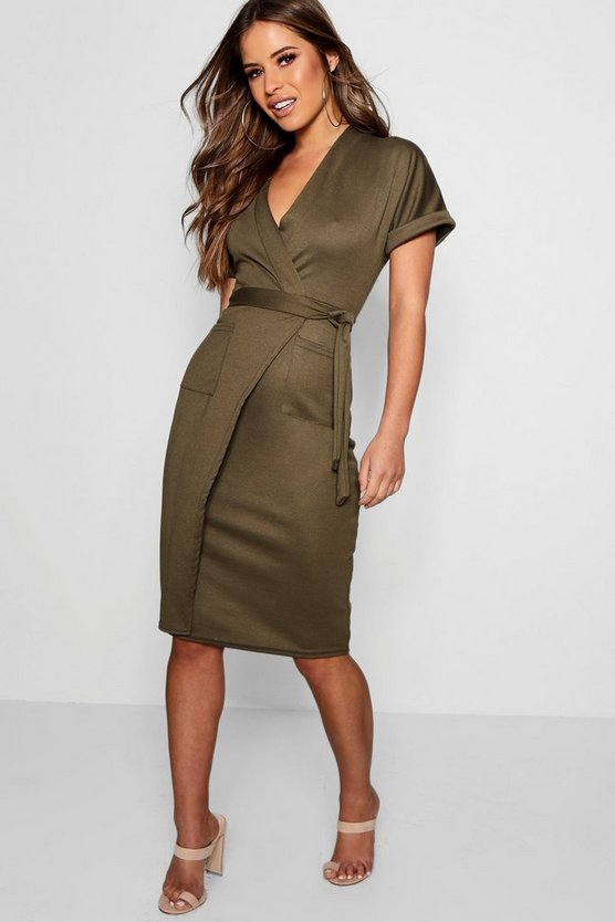 Womens Khaki Petite  Obie Tie Wrap Midi Dress