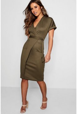 Petite Obie Tie Wrap Midi Dress, Khaki, Donna