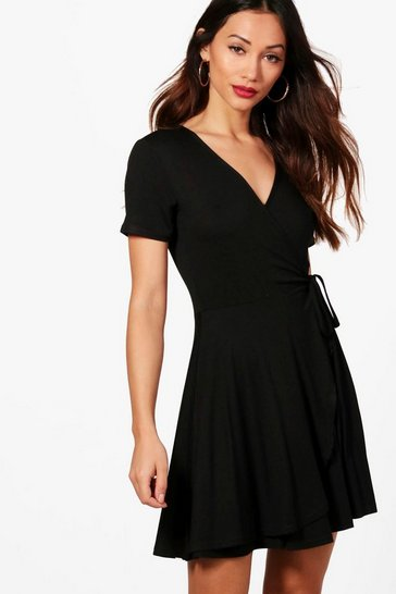 Womens Black Petite  Wrap Skater Dress