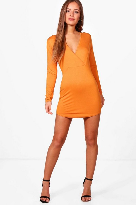 Petite Alana Curved Hem Wrap Bodycon Dress