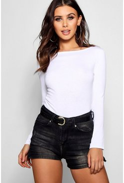 Womens White Petite Basic Long Sleeve Top