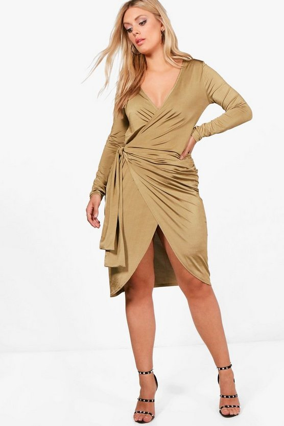 Plus Long Sleeve Strappy Knot Wrap Midi Dress