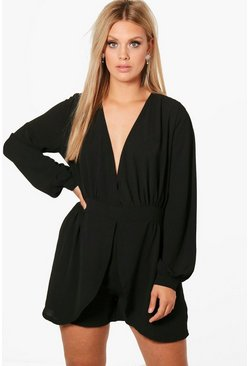 Plus Tie Sleeve Wrap Front Playsuit, Black, Donna