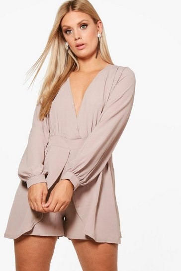 Womens Grey Plus Tie Sleeve Wrap Front Playsuit