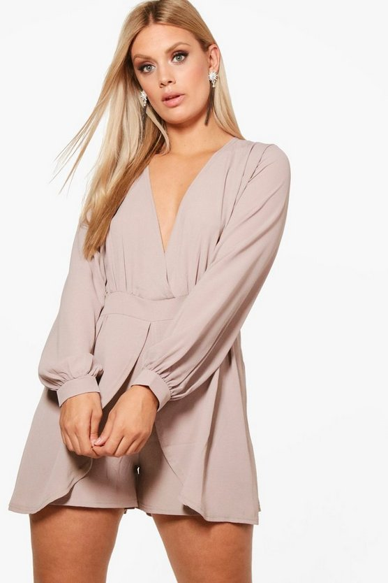 Plus Tie Sleeve Wrap Front Playsuit