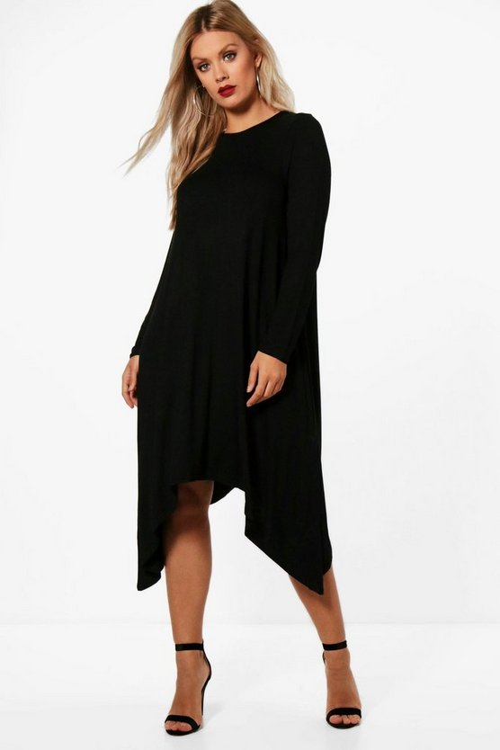 Plus  Long Sleeve Hanky Hem Swing Dress