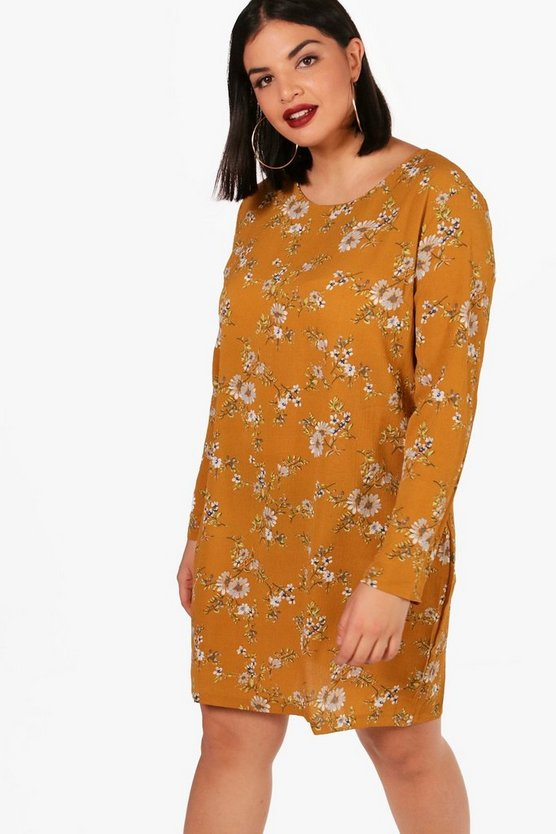 Plus Helen Printed Long Sleeve Shift Dress