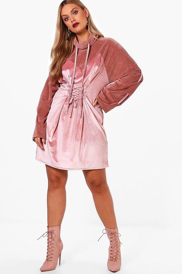 Plus Velvet Flare Sleeve Lace Up Dress | boohoo