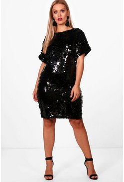 Plus V Neck Sequin Shift Dress, Black, Donna