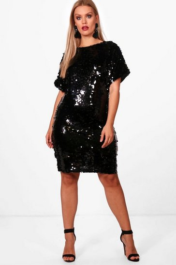 Black Plus V Neck Sequin Shift Dress