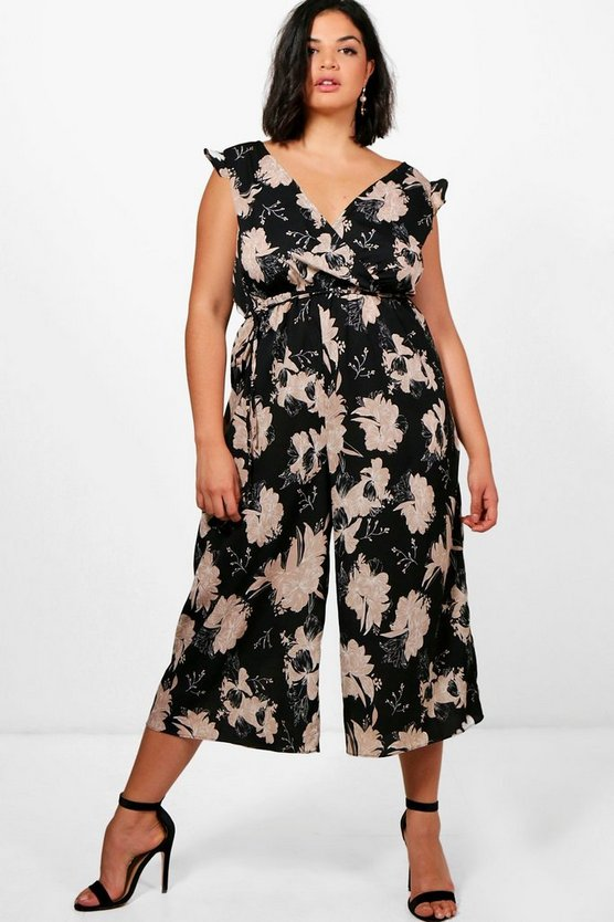 Plus Kay Floral Wrap Jumpsuit