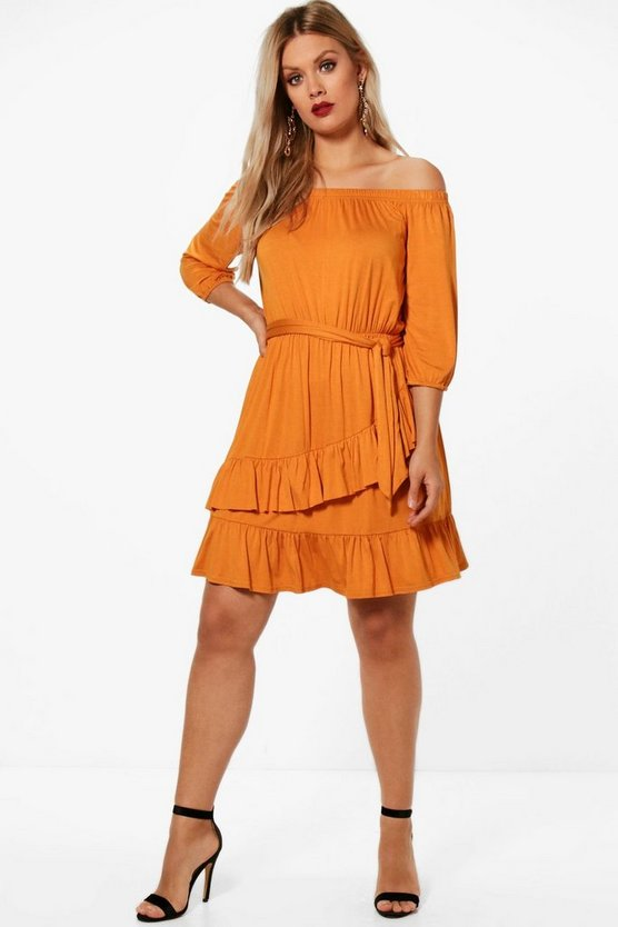 Plus Jenny 3/4 Sleeve Off The Shoulder Dress