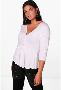 Womens White Plus Button Front 3/4 Sleeve Smock Top