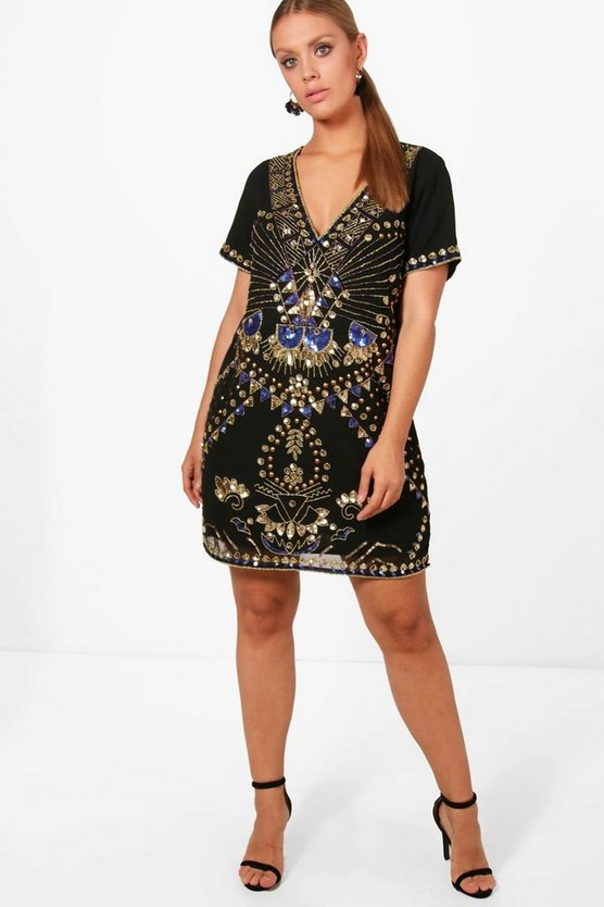 Plus Sequin Shift Dress
