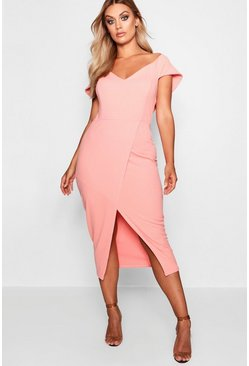 Coral blush Plus  Off The Shoulder Wrap Midi Dress