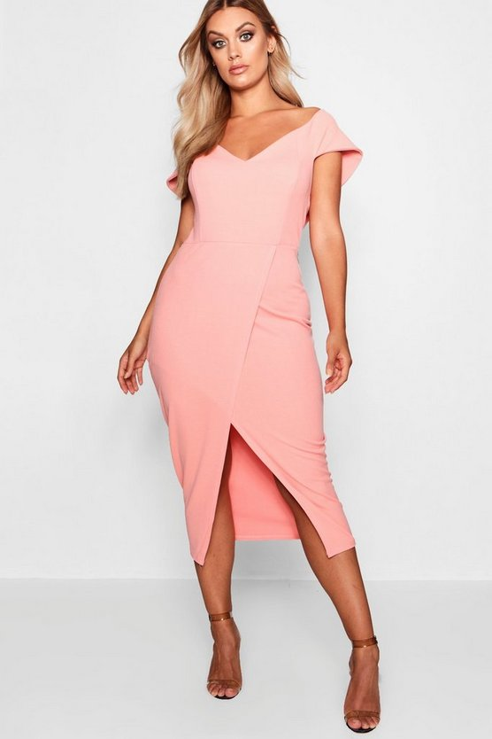Plus  Off The Shoulder Wrap Midi Dress, Coral blush, Donna