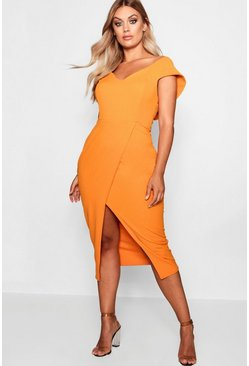 Womens Tangerine Plus  Off The Shoulder Wrap Midi Dress