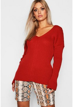 Womens Rust Plus  Slouchy V Neck Jumper