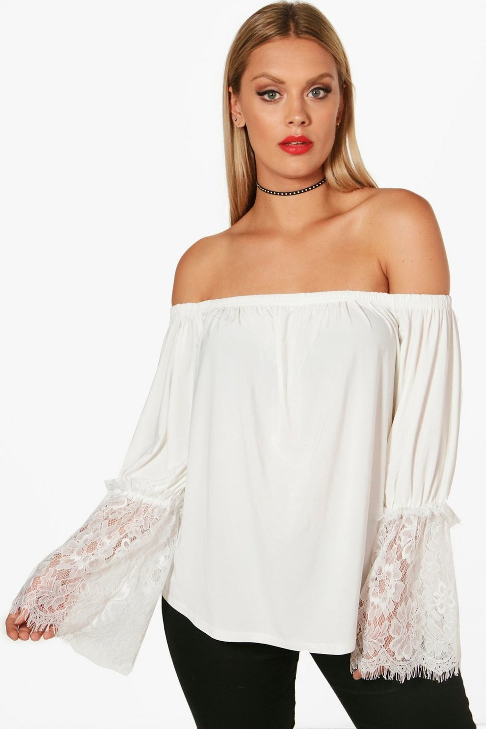 da3437616fae63 Plus Milly Lace Sleeve Off The Shoulder Top