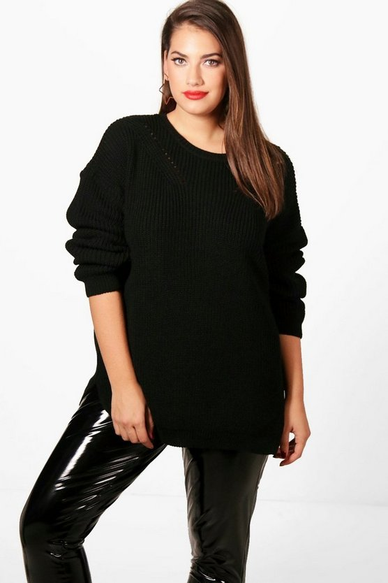 Plus Side Split Knitted Jumper, Black, Donna