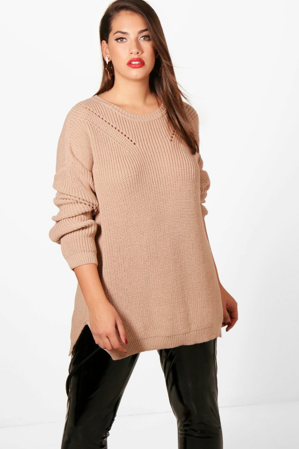 420f3738fb1805 Plus Side Split Knitted Jumper