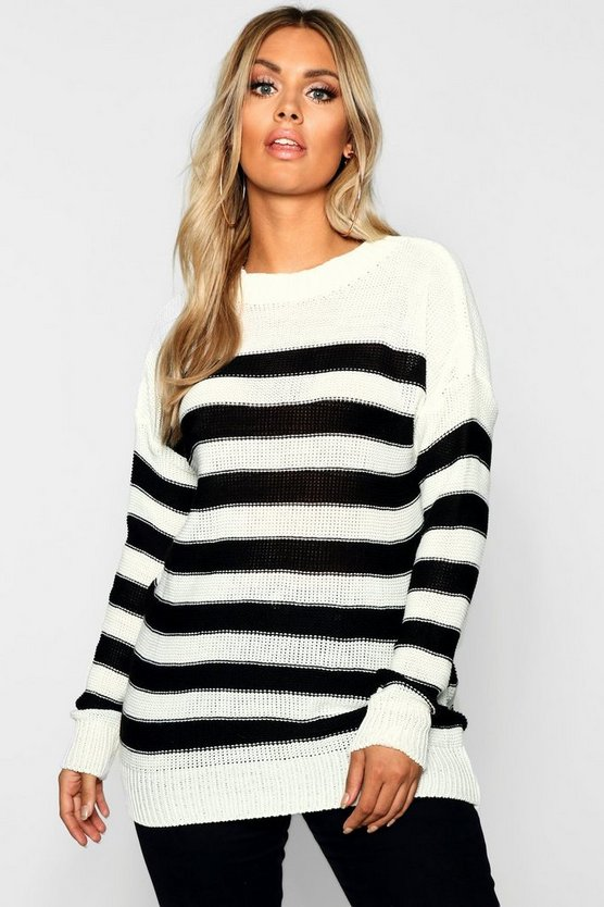 Plus Stripe Knitted Jumper