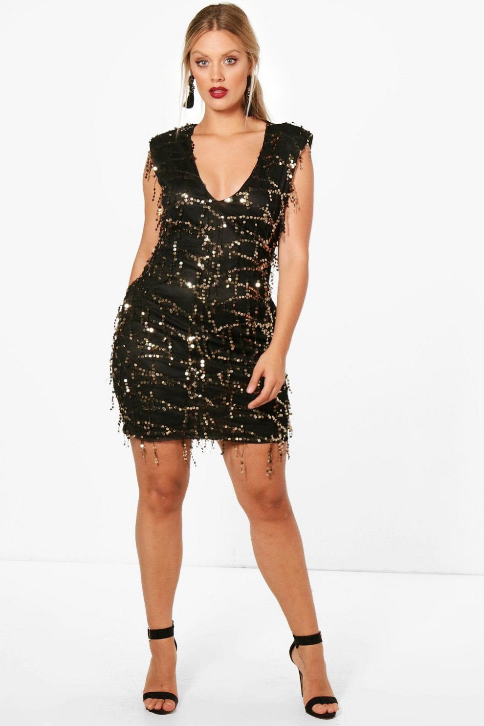 78f06a9524c Womens Black Plus Sasha Plunge Neck Sequin Dress
