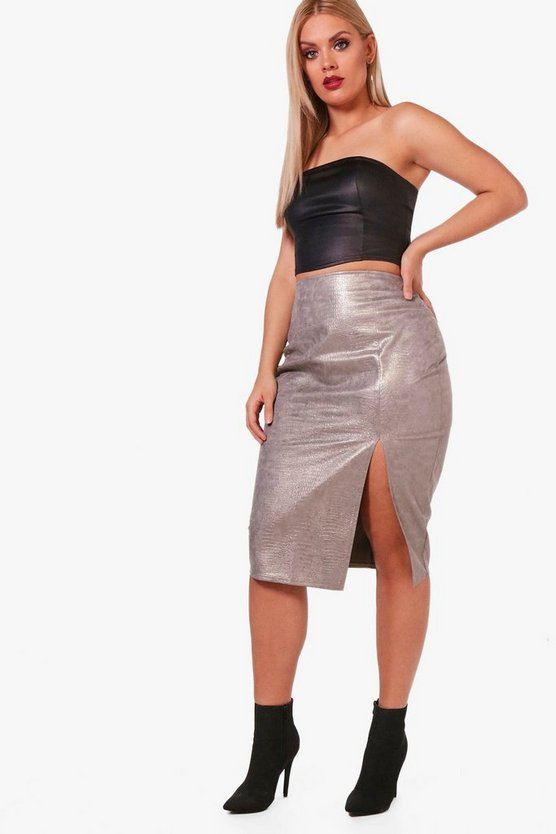 Plus Faux Croc PU Thigh Split Midi Skirt