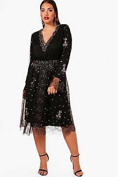 1920s Style Dresses, Flapper Dresses Plus Jessica V Plunge Sequin Midi Dress $92.00 AT vintagedancer.com