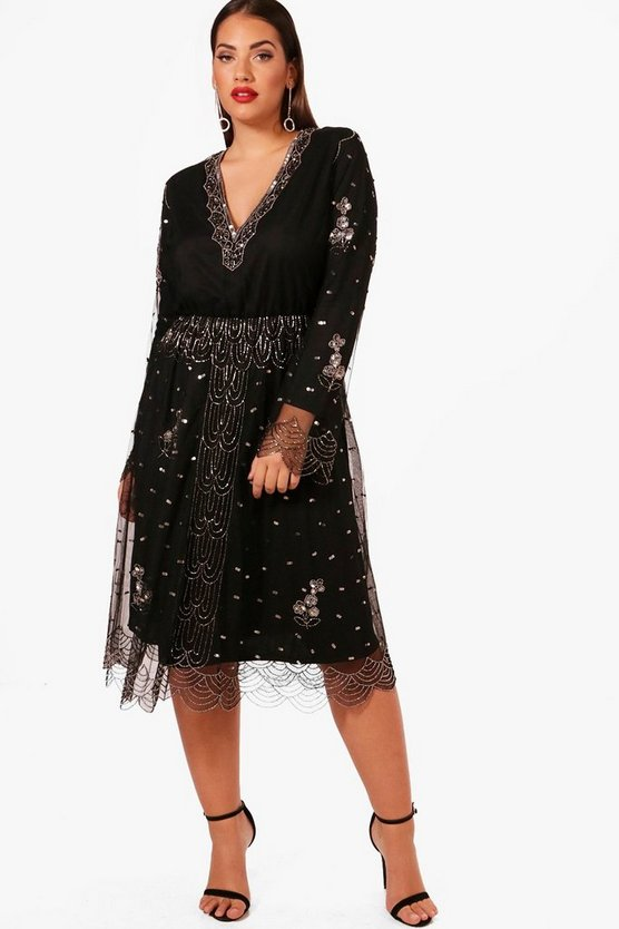 Plus V Plunge Sequin Midi Dress