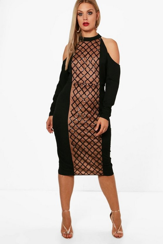Plus Emma Panelled Sequin Cold Shoulder Midi Dress