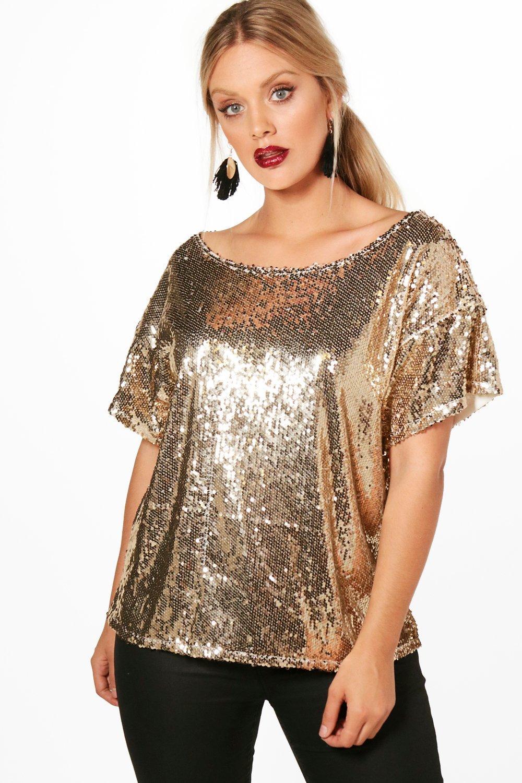 Women's 70s Shirts, Blouses, Hippie Tops Plus Slash Sequin Neck Oversized Sequin Top $20.00 AT vintagedancer.com