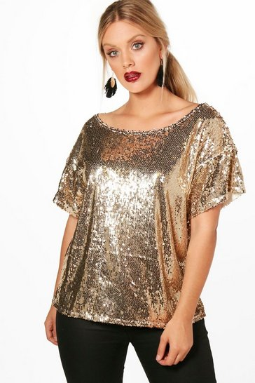 Womens Gold Plus Slash Sequin Neck Oversized Sequin Top