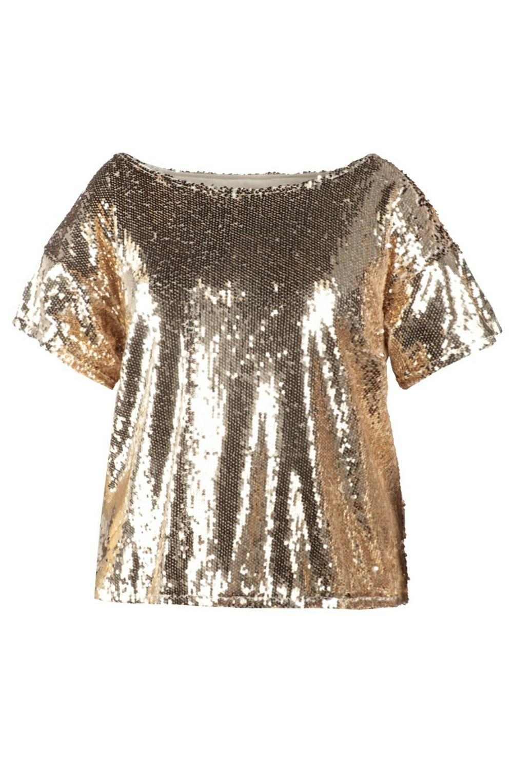 Oversized Neck gold Sequin Slash Sequin Plus Top OqzRwR