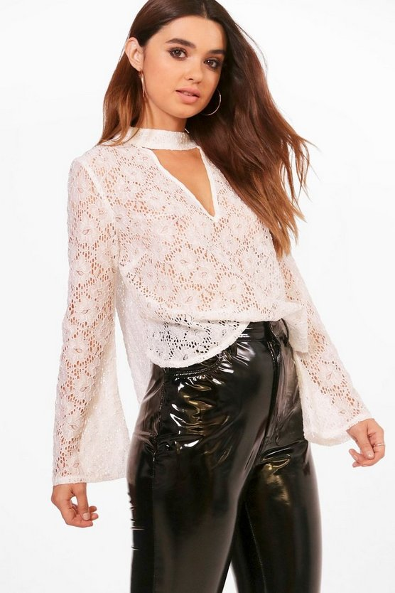 Petite Lace Choker Flare Sleeve Blouse, Ivory, MUJER