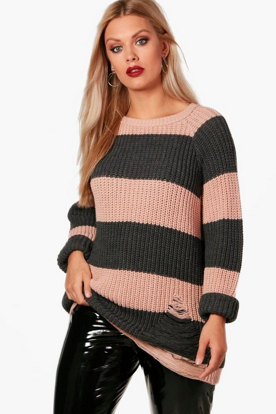 Plus Chunky Stripe Knitted Jumper
