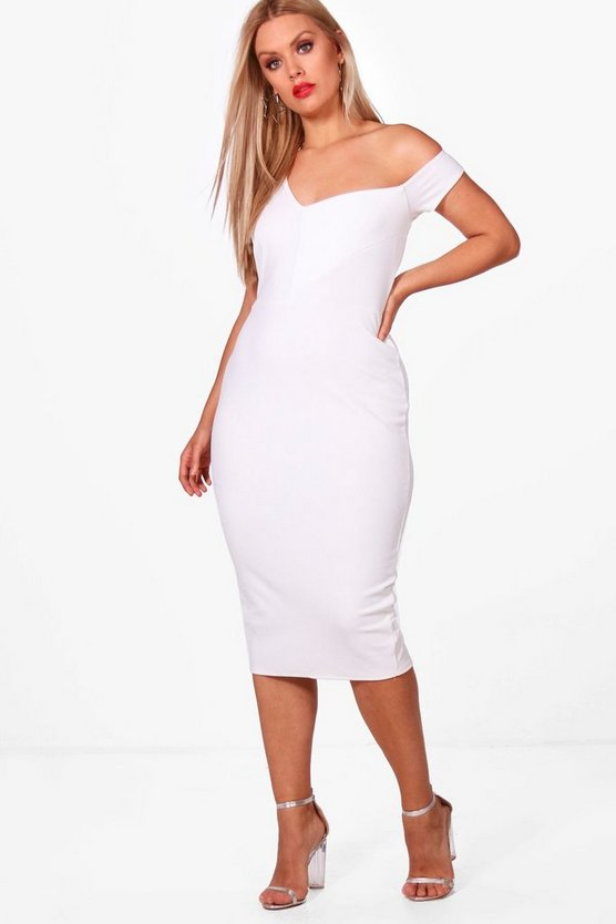 Plus Sara Structured One Shoulder Bardot Midi Dress