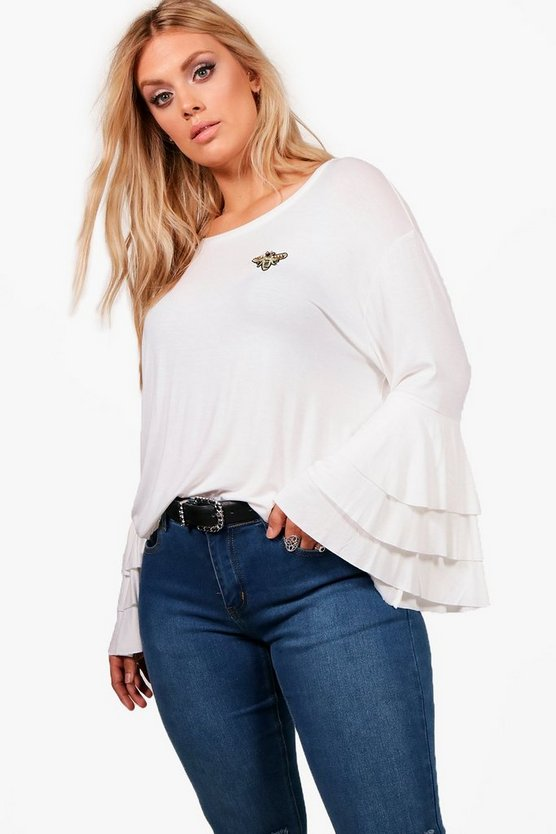 Plus Amy Insect  Detail Flute Sleeve Top