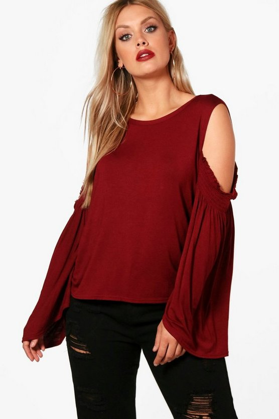 Plus Heather Open Shoulder Flute Sleeve Top